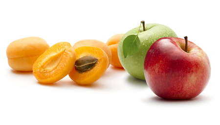 Ripe apricots and apples photo