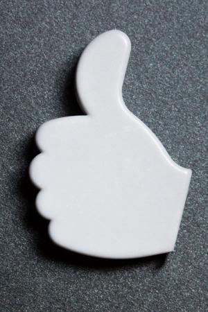 Thumb up okay sign badge Stock Photo - 14810649