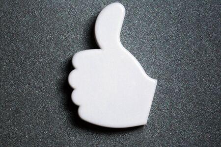 Thumb up okay sign badge Stock Photo - 14810657
