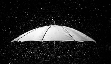 Umbrella under raindrops in black and white photo