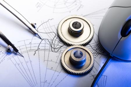 cad drawing: 機械棘輪,分頻器和起草 版權商用圖片
