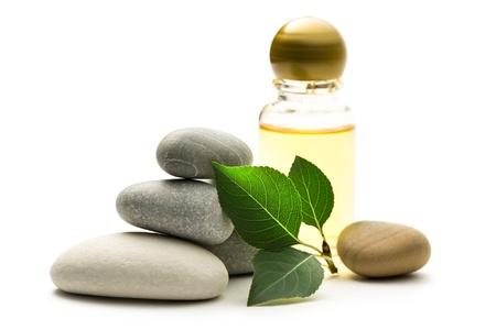 Steine, Blätter und Shampoo-Flasche Standard-Bild