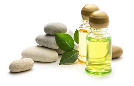 Stones, leaves and shampoo bottles Stock Photo