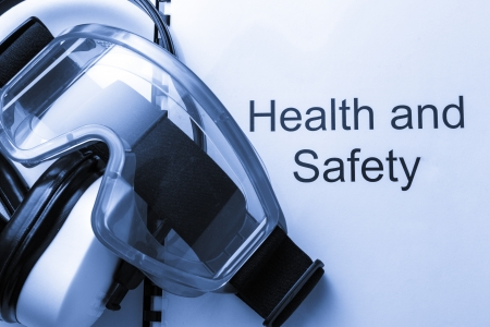 safety goggles: Health and safety register with goggles and earphones