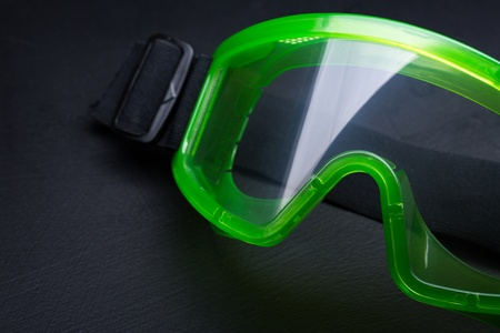 eye protectors: Green safety eye shields with strap