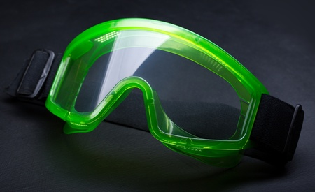 eyeshield: Green safety eye shields with strap