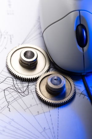 mechanical mouse: Mechanical ratchets, drafting and mouse Stock Photo