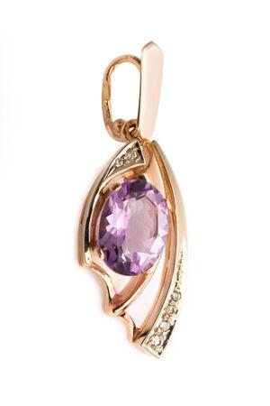 pendant: Pendant with amethyst and diamonds Stock Photo