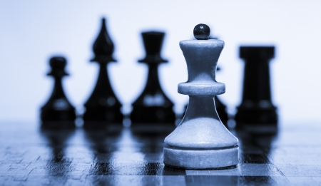 Wooden chessboard with chessmen Stock Photo
