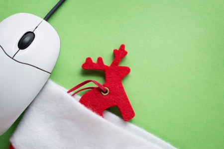 Santa sock, reindeer and computer mouse Stock Photo - 16029479