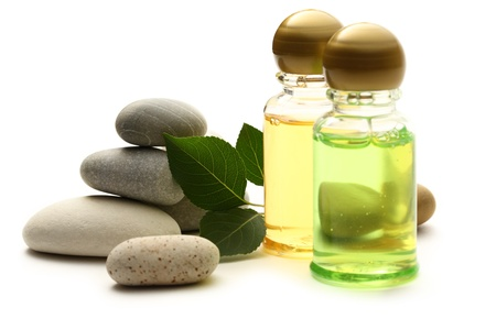 Stones, leaves and shampoo bottles  Stock Photo