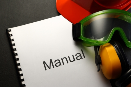 eyeshield: Manual with helmet, goggles and headphones Stock Photo