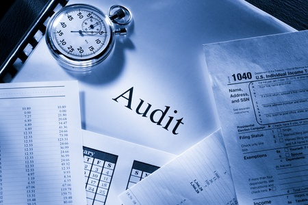 Operating budget, calendar, stopwatch and audit Stok Fotoğraf - 17413071
