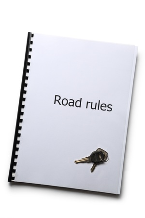 Road rules register with car keys photo
