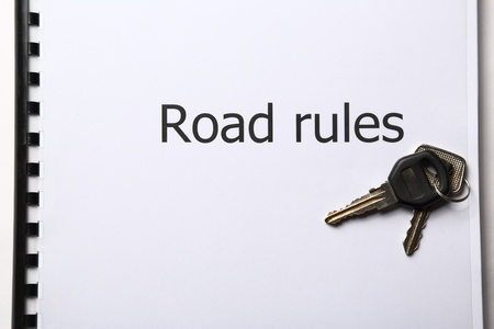 Road rules register with car keys Stock Photo - 17412789