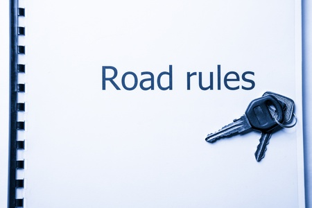 Road rules register with car keys Stock Photo - 17412779