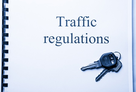 Road rules register with car keys Stock Photo - 17412791