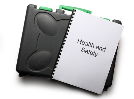 Black toolbox and notebook on white background Stock Photo - 17412612