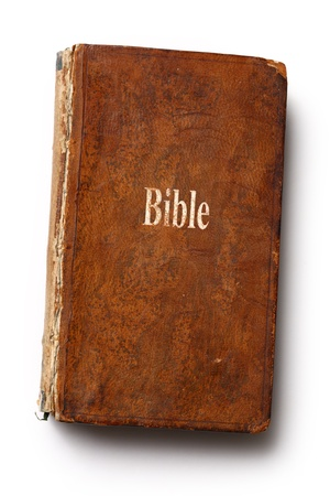 Old Bible book on white background Stock Photo - 17621376