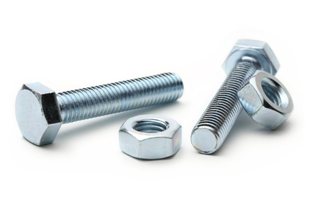 Screw bolts and nuts on white Stock Photo - 17620952
