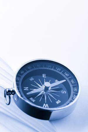 Stack of white cards and compass Stock Photo - 17752018