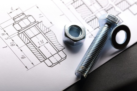 Drafting and screw bolt with nut photo