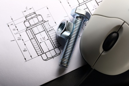 mechanical mouse: Drafting, mouse and screw bolt with nut Stock Photo