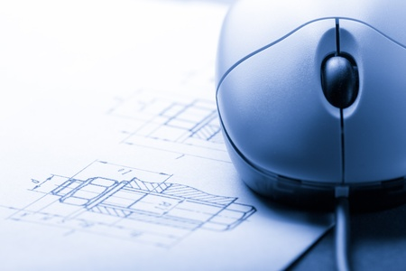 mechanical mouse: Drafting and computer mouse Stock Photo