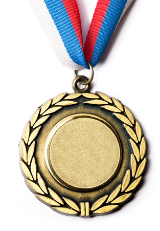 award trophy: Metal medal with tricolor ribbon