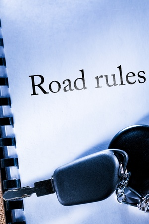 Road rules and car key Stock Photo - 17910019