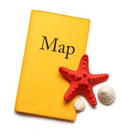 seastar: Seastar and seashells on map Stock Photo