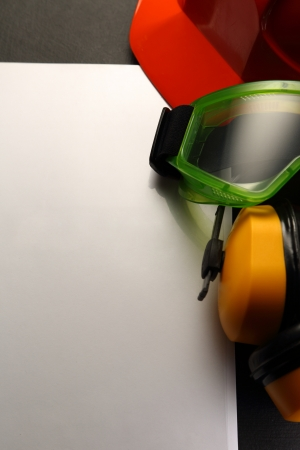 eyeshield: Blank sheet with helmet, goggles and headphones  Stock Photo