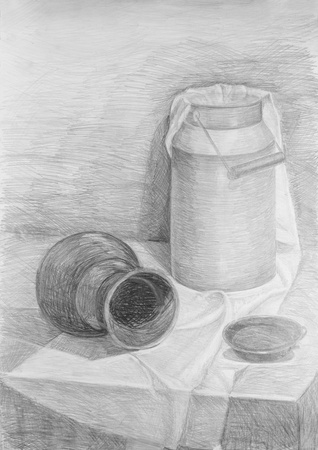 pencil sketch: Pencil drawing of a still life Stock Photo