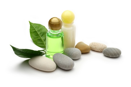 Stones, leaves and shampoo bottles  photo