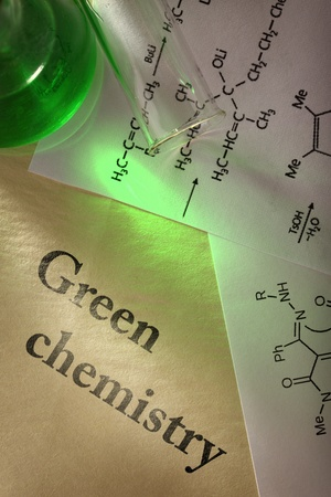 Green chemistry with reaction formula Stock Photo - 19112382