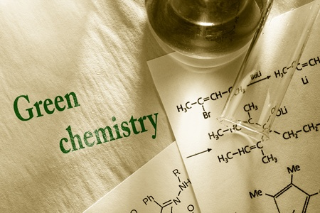 Green chemistry with reaction formula Stock Photo - 19112404