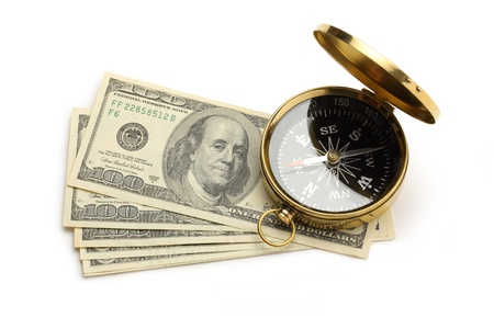 Golden vintage compass and dollars Stock Photo - 19112175