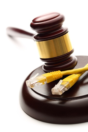 proceeding: Yellow cable and wooden gavel