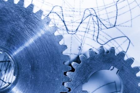 interlink: Steel cogwheels in connection on drawing