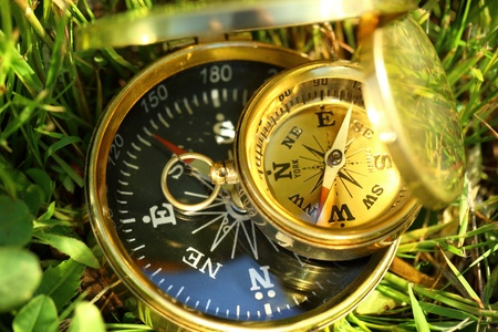 Two golden compasses on green grass photo