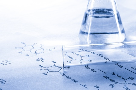 Chemistry with reaction formula in toning 写真素材