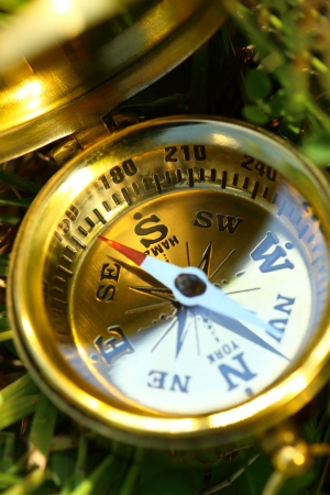Golden compass on green grass photo