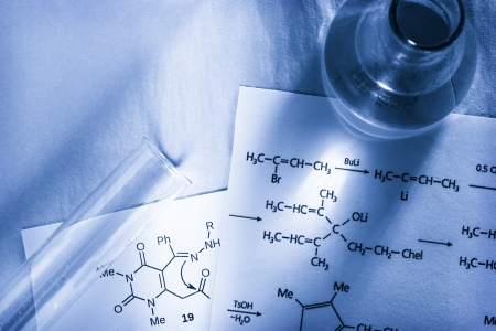 Chemistry with reaction formula in toning Stock Photo