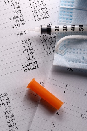 Budget, medical mask and syringe photo