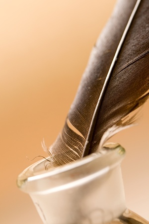 Feather and ink bottle isolated on paper background photo