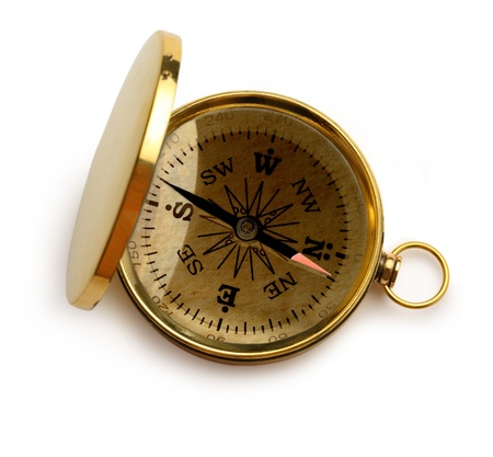 azimuth: Single golden compass on white background