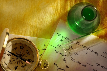 Green chemistry with formula and compass photo