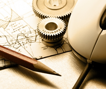 Mechanical ratchets, drafting and mouse Archivio Fotografico