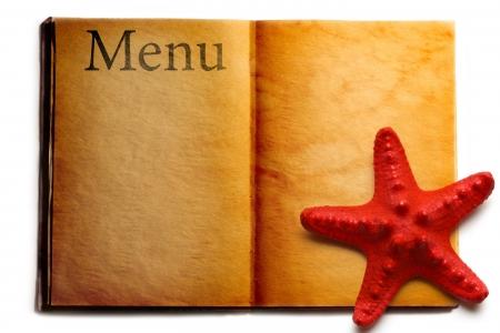 seastar: Open menu book and red seastar