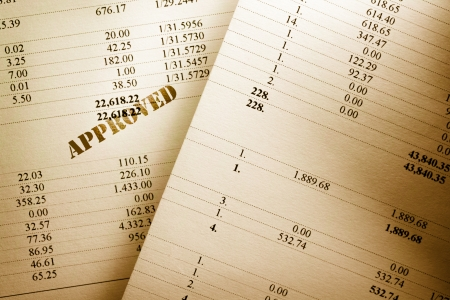 Approved operating budget numbers of financial calculation photo